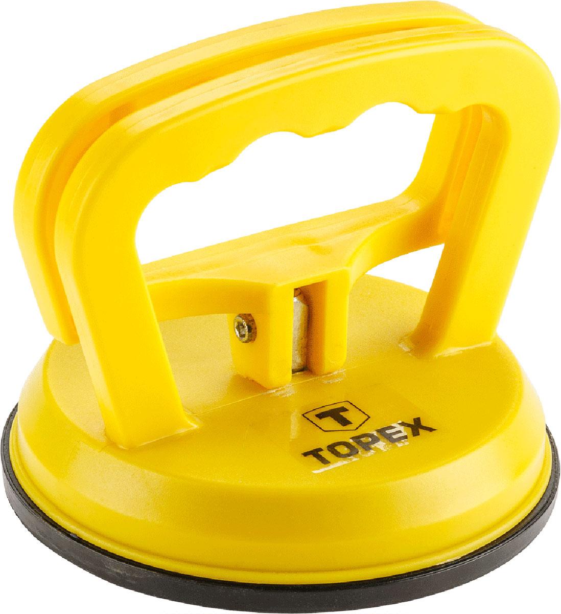 Стеклодомкрат Topex, одинарный, цвет: желтый, черный, до 40 кг80621Стеклодомкрат Topex предназначен для захвата, переноски и монтажа листового стекла, кафельной плитки и других листовых изделий с гладкой полированной поверхностью. Изделие выполнено из прочного пластика, подошва из резины. Захват происходит при помощи поднятия ручки.