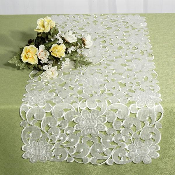 Дорожка для декорирования стола Schaefer, цвет: молочный, 40 см х 90 см. 06642-2001004900000360Дорожка Schaefer, выполненная из полиэстера с красивым цветочным декором, станет изысканным украшением интерьера. Такую дорожку можно использовать для украшения комодов, тумб и столов. За текстилем из полиэстера очень легко ухаживать: он легко стирается, не мнется, не садится и быстро сохнет, более долговечен, чем текстиль из натуральных волокон.Такая дорожка изящно дополнит интерьер вашего дома.