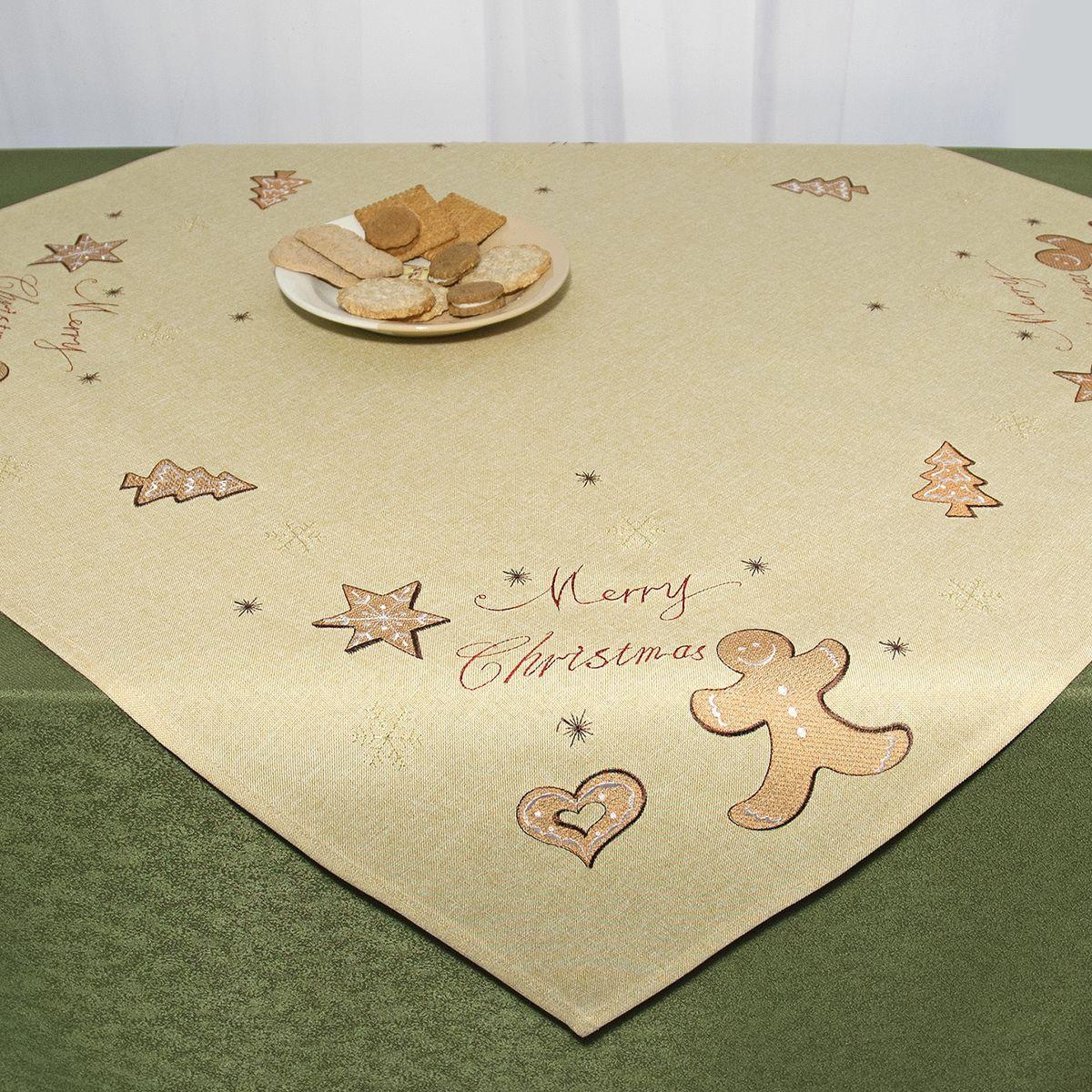 Скатерть Schaefer, квадратная, цвет: бежевый, 85 x 85 см 07674-10003564-СК-ГБ-003Квадратная скатерть Schaefer, выполненная из полиэстера, станет украшением новогоднего стола. Изделие декорировано оригинальной вышивкой в виде пряников, снежинок и надписи: Merry Christmas. За текстилем из полиэстера очень легко ухаживать: он легко стирается, не мнется, не садится и быстро сохнет, более долговечен, чем текстиль из натуральных волокон.Использование такой скатерти сделает застолье торжественным, поднимет настроение гостей и приятно удивит их вашим изысканным вкусом. Это текстильное изделие станет изысканным украшением вашего дома!