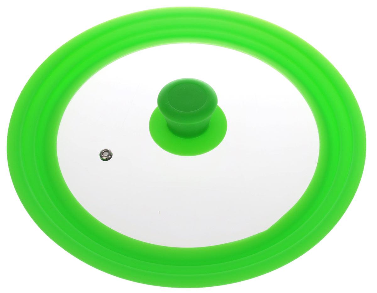 Крышка универсальная Miolla, цвет: зеленый, для сковород и кастрюль диаметром 22, 24, 26 см54 009312Универсальная крышка Miolla подходит для сковород и кастрюль диаметром 22 см, 24 см и 26 см. Она изготовлена из огнеупорного стекла с высококачественным силиконовым ободом. Изделие оснащено отверстием для вывода пара и ненагревающейся ручкой.Можно мыть в посудомоечной машине. Подходит для использования в духовке до 180°С.