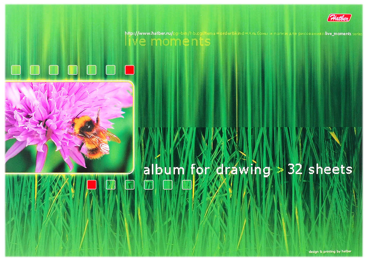 Hatber Альбом для рисования Живые моменты 32 листа 074040703415Альбом для рисования Hatber Живые моменты непременно порадует маленького художника и вдохновит его на творчество. Альбом изготовлен из белоснежной бумаги с яркой обложкой из плотного картона, оформленной красочным изображением. В альбоме 32 листа. Способ крепления - металлические скрепки. Высокое качество бумаги позволяет рисовать в альбоме карандашами, фломастерами, акварельными и гуашевыми красками.Занимаясь изобразительным творчеством, ребенок тренирует мелкую моторику рук, становится более усидчивым и спокойным и, конечно, приобщается к общечеловеческой культуре.