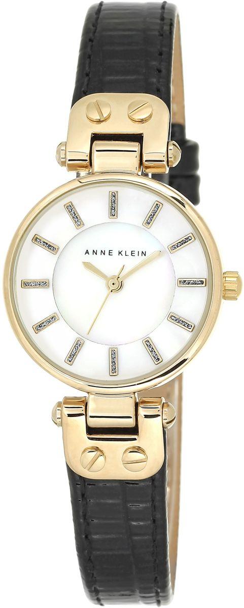 Наручные часы женские Anne Klein, цвет: белый, черный, золотой. 1950MPBKBM8434-58AEКорпус: металл, PVD покрытие, 26 мм, стекло: минеральное, циферблат перламутровый, браслет: черный кожаный ремешок, механизм: кварцевый, водозащита: 3 АТМ