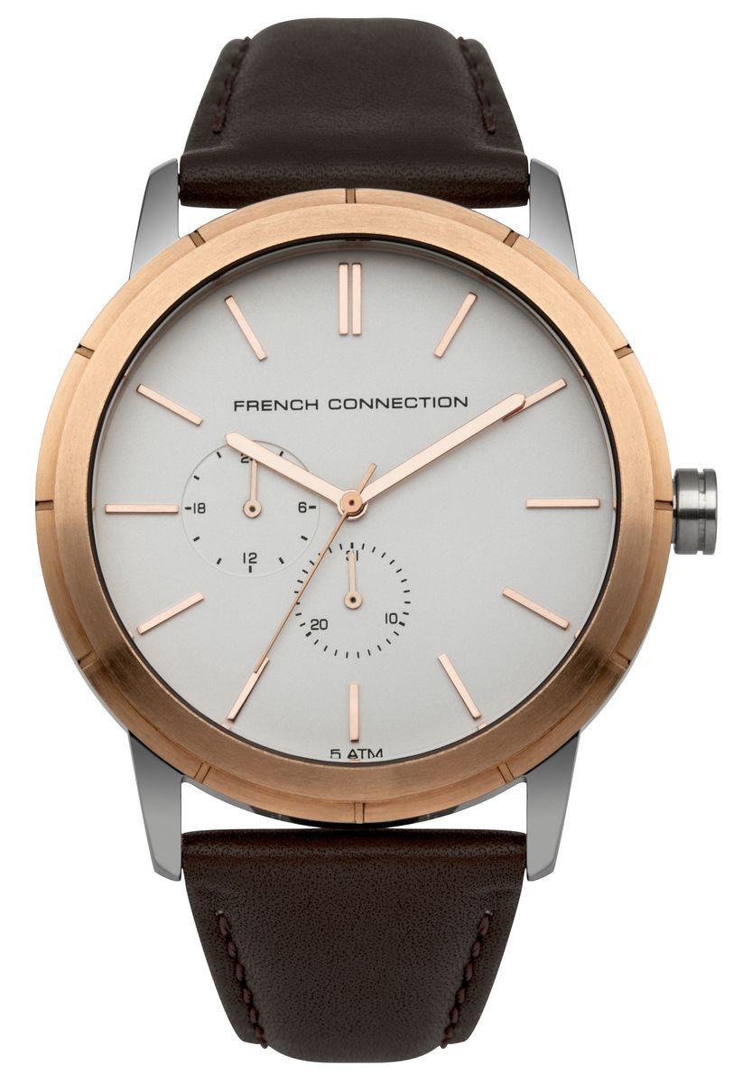 Часы наручные мужские French Connection , цвет: золотой, белый, коричневый. FC1261TRG8-2Стильные мужские часы French Connection, выполнены из нержавеющей стали, натуральной кожи и минерального стекла. Циферблат часов дополнен символикой бренда.Часы оснащены кварцевым механизмом, имеют степень влагозащиты равную 5 atm, а также дополнены устойчивым к царапинам минеральным стеклом и индикатором даты. Ремешок часов оснащен классической пряжкой, которая позволит с легкостью снимать и надевать изделие.Часы поставляются в фирменной упаковке.Часы French Connection подчеркнут отменное чувство стиля своего обладателя.