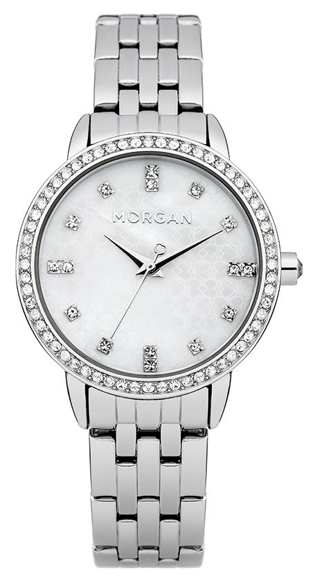 Наручные часы женские Morgan, цвет: стальной. M1222SMBM8434-58AEТрехстрелочный механизм Mioyota PC21AE; Металл с IP Silver покрытием; Размер корпуса: o 31 mm; Минеральное стекло; Перламутровый циферблат; Чешские кристаллы; Браслет; Водозащита 3 ATM