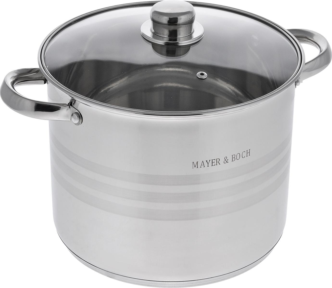 Кастрюля Mayer & Boch с крышкой, 6,8 лBK-7321 фруктыКастрюля Mayer & Boch изготовлена из высококачественной нержавеющей стали. Комбинацияматовой и зеркальной полировки внешнего покрытия придает изделию особо эстетичныйстильный вид. Изделие предназначено для здорового и экологичного приготовления пищи.Внутренняя гладкая поверхность легко чистится - можно мыть в воде руками или протиратьполотенцем. Кастрюля имеет многослойное термоаккумулирующее дно кастрюли с прослойкой из алюминия, которая обеспечивает наилучшее распределение тепла. Кастрюля оснащена двумя удобными ручками. Крышка из термостойкогостекла снабжена металлическим ободом, удобнойручкой и отверстием для выпуска пара. Такаякрышка позволяет следить за процессом приготовления пищи без потери тепла. Она плотноприлегает к краю кастрюли, сохраняя аромат блюд. Внутренние стенки кастрюли имеютотметки литража.Подходит для всех типов плит, включая индукционные. Не предназначена для СВЧ-печей. Можномыть в посудомоечной машине. Подходит для хранения пищи в холодильнике.Объем: 6,8 л.Диаметр по верхнему краю: 23,5 см.Высота стенки: 20 см. Ширина с учетом ручек: 30,5 см.