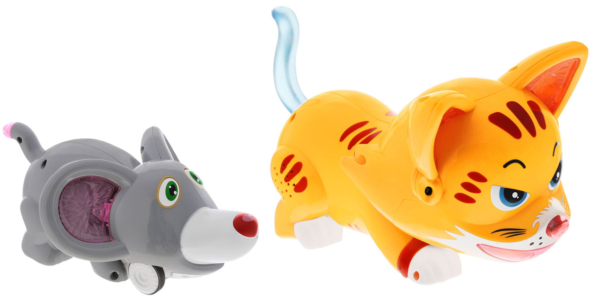 """Игрушка на радиоуправлении Tongde """"Кошки-мышки"""" - это весёлая игра, основанная на популярной детской игре. Ребёнок, управляя мышкой с помощью дистанционного пульта, должен помочь ей не попасть в лапы котёнка, который движется хаотично. А более интересной игру делают звуковые и световые эффекты. В эту игру может играть несколько детей, по очереди управляя мышонком, убегать от кота. Победителем станет тот, кто меньше всего раз натолкнётся на котёнка. В состав комплекта входят котёнок, мышонок, пульт управления, 2 аккумулятора и зарядное устройство. Для работы пульта управления необходимы 2 батарейки типа АА (не входят в комплект)."""