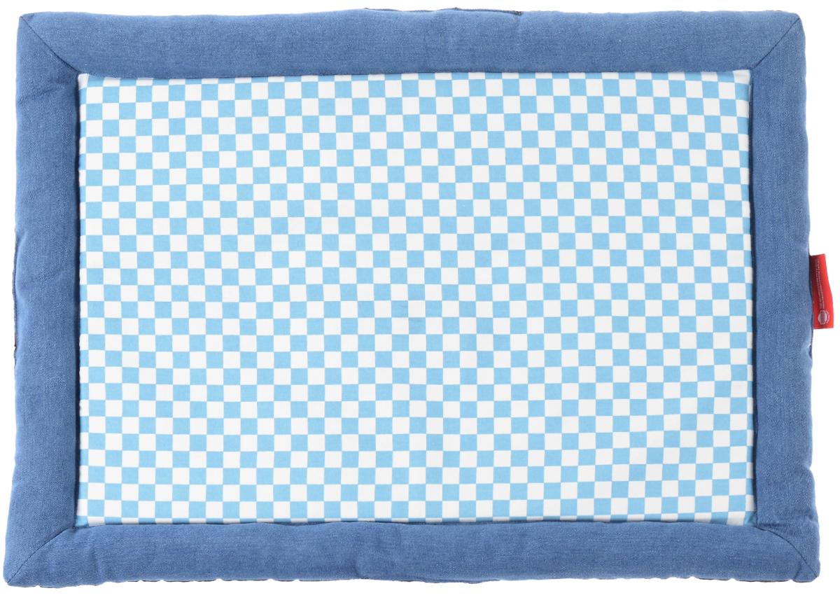Матрас для собак и кошек Fauna Denim flat, цвет: синий, белый, голубой, 75 см х 55 см х 5 см16136Матрас для собак и кошек Fauna Denim flat предназначен для собак мелких пород икошек. Выполнен из джинсового хлопка, отделан клетчатой тканью.Ваш любимец сразуже захочет забраться на лежак,там он сможет отдохнуть и подремать в свое удовольствие. Компактные размеры позволят поместить лежак, где угодно, а приятная цветоваягамма сделает егооригинальным дополнением к любому интерьеру.