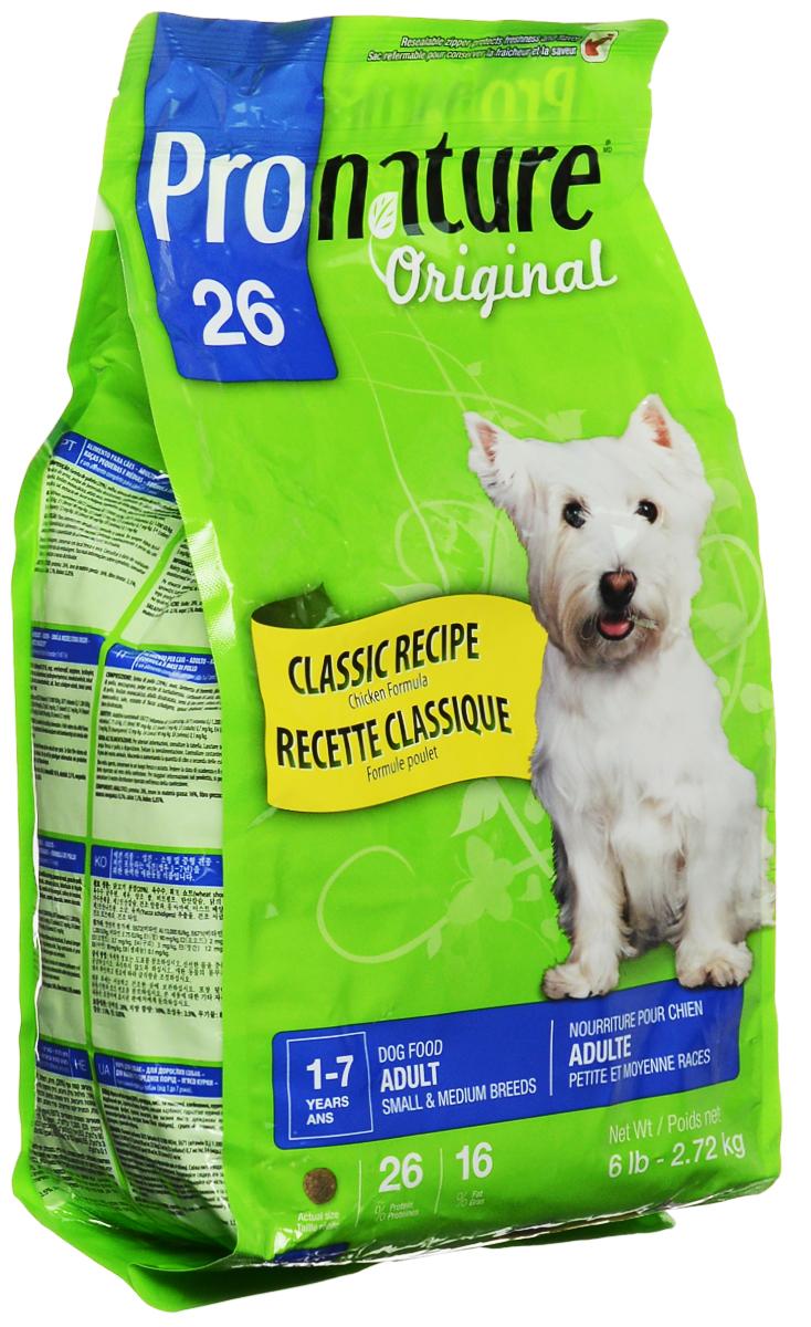 Корм сухой Pronature Original 26 для собак мелких и средних пород, с курицей, 2,72 кг30163Взрослые собаки мелких и средних пород нуждаются в специальном сбалансированном питании в соответствии с их особыми потребностями. Восхитительный рецепт Pronature Original 26 для собак мелких и средних пород обеспечивает оптимальный баланс энергии и питательных веществ для здоровья и долголетия вашего маленького друга!Состав: мука из мяса курицы, молотая кукуруза, пшеничные отруби, кукурузный глютен, куриный жир, сохраненный смесью натуральных токоферолов (витамин Е), рис пивной, сушеная мякоть свеклы, кальция карбонат, натуральный ароматизатор, монокальция фосфат, сушеная люцерна, цельное льняное семя, дрожжевая культура, лецитин, кальция пропионат, мононатрия фосфат, калия хлорид, холина хлорид, соль, железа сульфат, цинка оксид, экстракт юкки Шидигера, альфа-токоферол ацетат (витамин Е), натрия селенит, тиамина мононитрат, сушеный шпинат, сушеный розмарин, сушеный тимьян.Добавленные вещества: меди сульфат, кальция иодат, пиридоксина гидрохлорид, марганца оксид, никотиновая кислота, d-кальций пантотенат, витамин А, холекальциферол (витамин Д3), фолиевая кислота, рибофлавин, менадион натрия бисульфитный комплекс (витамин К3), биотин, витамин В12, кобальта карбонат.Гарантируемые показатели: белок 26%, жир 16%, зола 8,5%, сырая клетчатка 3,5%. Товар сертифицирован.