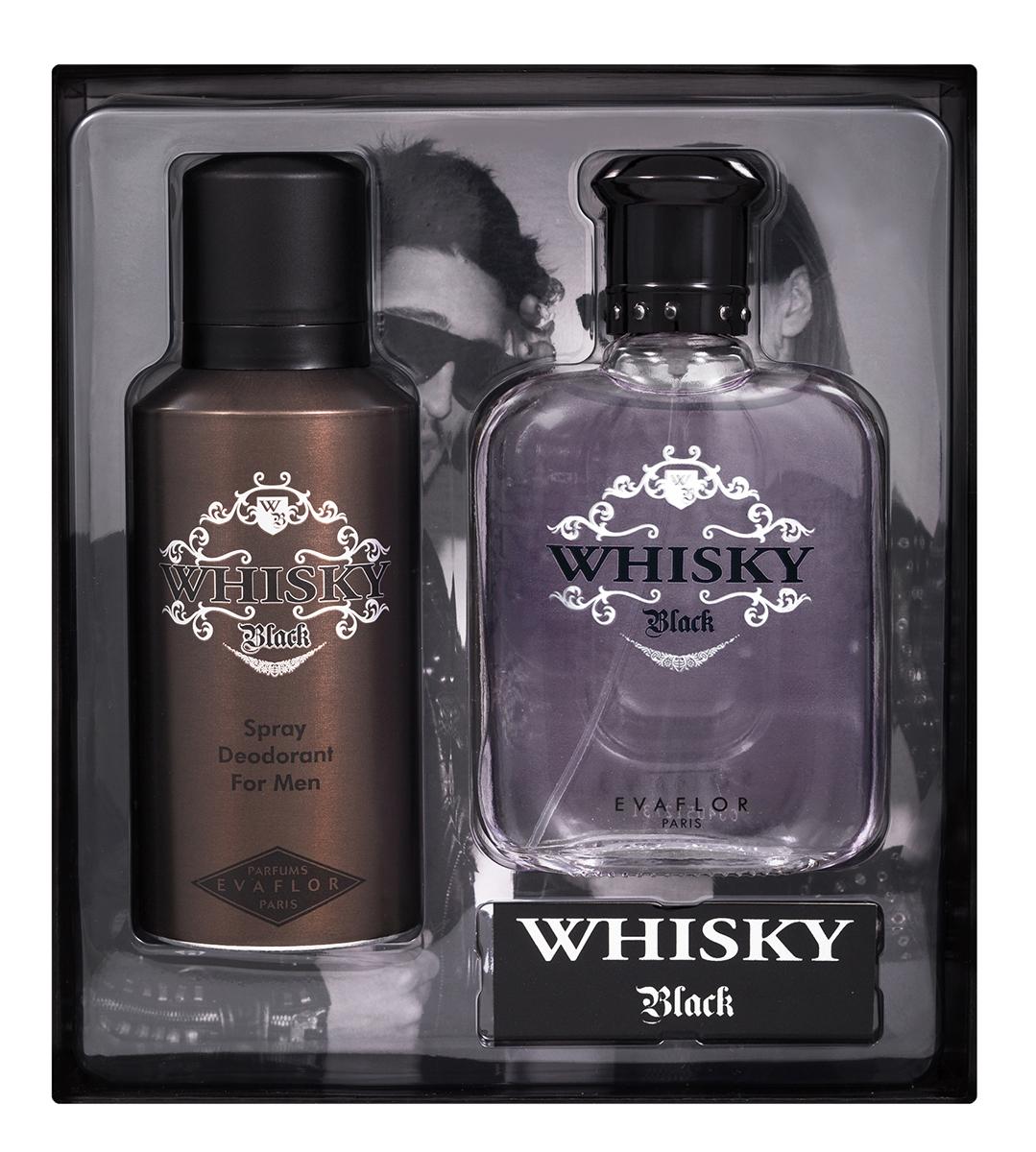 Evaflor Подарочный набор Whisky Black мужской: Туалетная вода, 100 мл , дезодорант, 150 мл1301210Подарочный набор для мужчин : туалетная вода 100мл, парфюмированный дезодорант 150 мл.