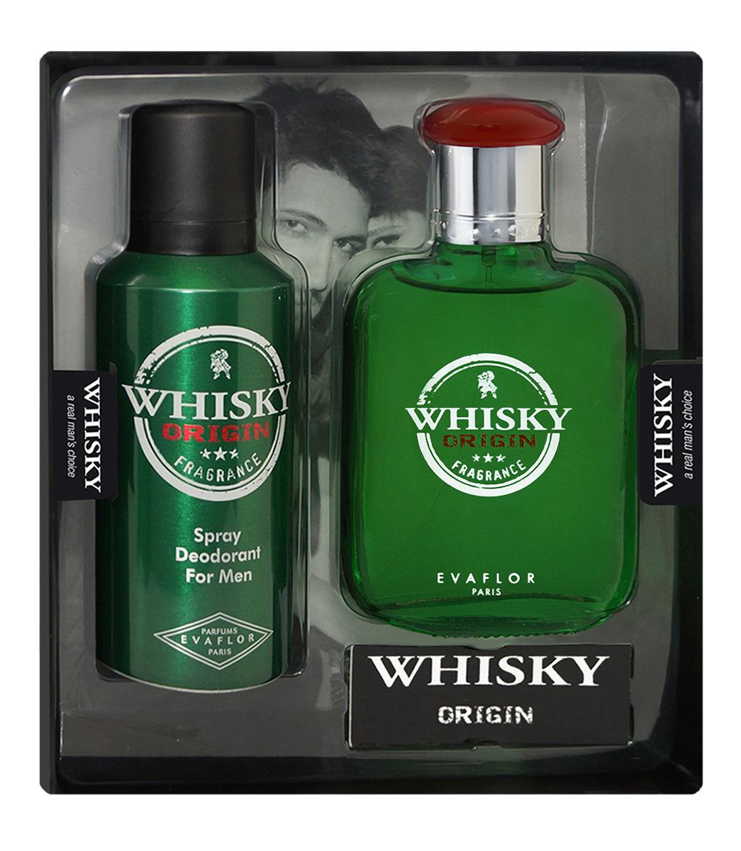 Evaflor Подарочный набор Whisky Origin мужской: Туалетная вода,100 мл , дезодорант, 150 мл75535007000Подарочный набор для мужчин : туалетная вода 100мл, парфюмированный дезодорант 150 мл.