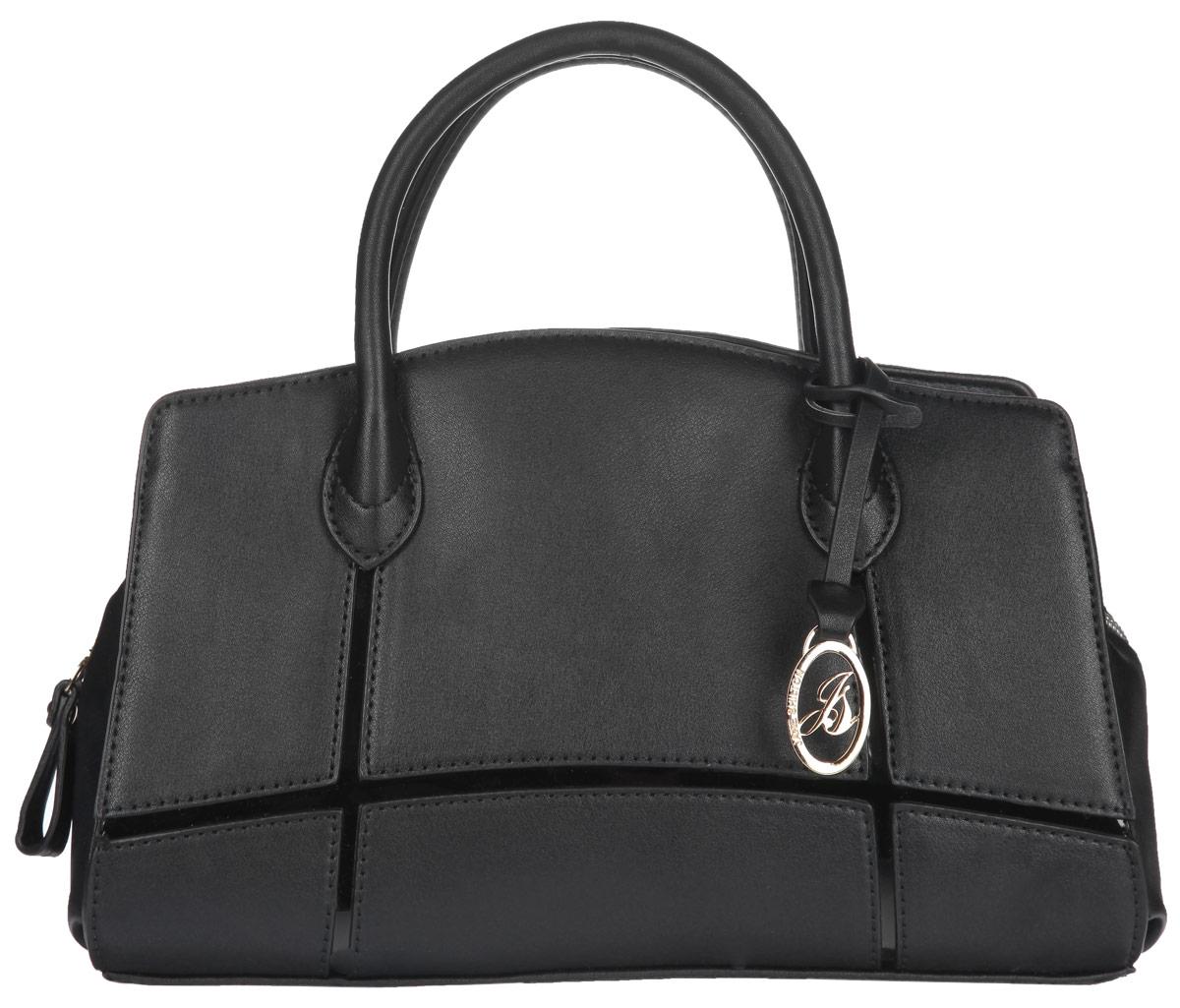 Сумка женская Jane Shilton, цвет: черный. 1910L39845800Стильная сумка Jane Shilton выполнена из искусственной кожи с зернистой фактурой, оформлена, вставкой из искусственной лакированной кожи, металлической фурнитурой и подвеской с символикой бренда.Изделие содержит одно отделение, которое закрывается на застежку-молнию. Внутри изделия расположены: врезной карман на застежке-молнии и накладной карман для телефона. Снаружи, на задней стороне сумки, расположен врезной карман на молнии. Сумка оснащена двумя практичными ручками и съемным плечевым ремнем, которые позволят носить изделие, как в руках, так и на плече.Оригинальный аксессуар позволит вам завершить образ и быть неотразимой.