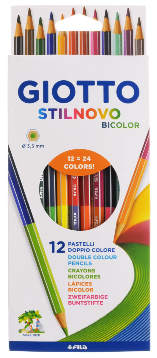 Giotto Набор цветных карандашей Stilnovo Bicolor Ast 12 штук256900_24 цветаНабор цветных карандашей Giotto Stilnovo Bicolor Ast непременно понравятся вашему юному художнику.Набор включает в себя 12 ярких двусторонних цветных карандашей. Изготовлены из натурального дерева, экологически чистые. Имеют ударопрочный неломающийся грифель, не требующий сильного нажатия. Легко затачиваются, не крошатся. Порадуйте своего ребенка таким восхитительным подарком! В комплекте: 12 цветных карандашей по 2 цвета.