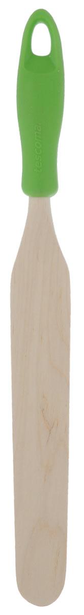 Лопатка для растирания Tescoma Presto Wood, цвет: зеленый637240_зеленыйЛопатка для растирания Tescoma Presto Wood изготовлена из экологически чистого материала - качественной березовой древесины, обладающей уникальной текстурой. Элегантная ручка имеет противоскользящую обработку, что дает возможность удобно и комфортно пользоваться лопаткой. Изделие имеет узкую вытянутую форму и идеально подходит для растирания разных продуктов во время готовки. Особенно это касается приготовления теста и кремов. Такая кухонная принадлежность подходит для всех видов посуды, а также замечательна для посуды с антипригарным покрытием. Лопатка для стирания Tescoma Presto Wood станет вашим незаменимым помощником на кухне, а также это практичный и необходимый подарок любой хозяйке! Размер рабочей поверхности: 2,9 см х 18 см. Общая длина лопатки: 30 см.