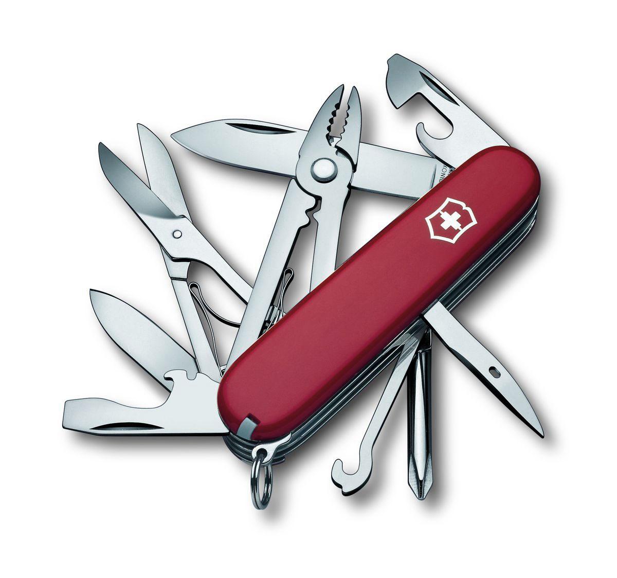 Нож перочинный Victorinox Deluxe Tinker, цвет: красный, 17 функций, 9,1 см1.4723Лезвие перочинного складного ножа Victorinox Deluxe Tinker изготовлено из высококачественной нержавеющей стали. Ручка, выполненная из прочного пластика, обеспечивает надежный и удобный хват.Хорошее качество, надежный долговечный материал и эргономичная рукоятка - что может быть удобнее на природе или на пикнике!Функции ножа:Большое лезвие.Малое лезвие.Крестовая отвертка.Консервный нож с малой отверткой.Открывалка для бутылок с отверткой.Инструмент для снятия изоляции.Шило, кернер.Кольцо для ключей.Пинцет.Зубочистка.Ножницы.Многофункциональный крючок.Плоскогубцы с кусачками для проводов и инструментом для обжима проводов.Длина ножа в сложенном виде: 9,1 см.Длина ножа в разложенном виде: 16 см.Длина большого лезвия: 7 см.Длина малого лезвия: 4,5 см.