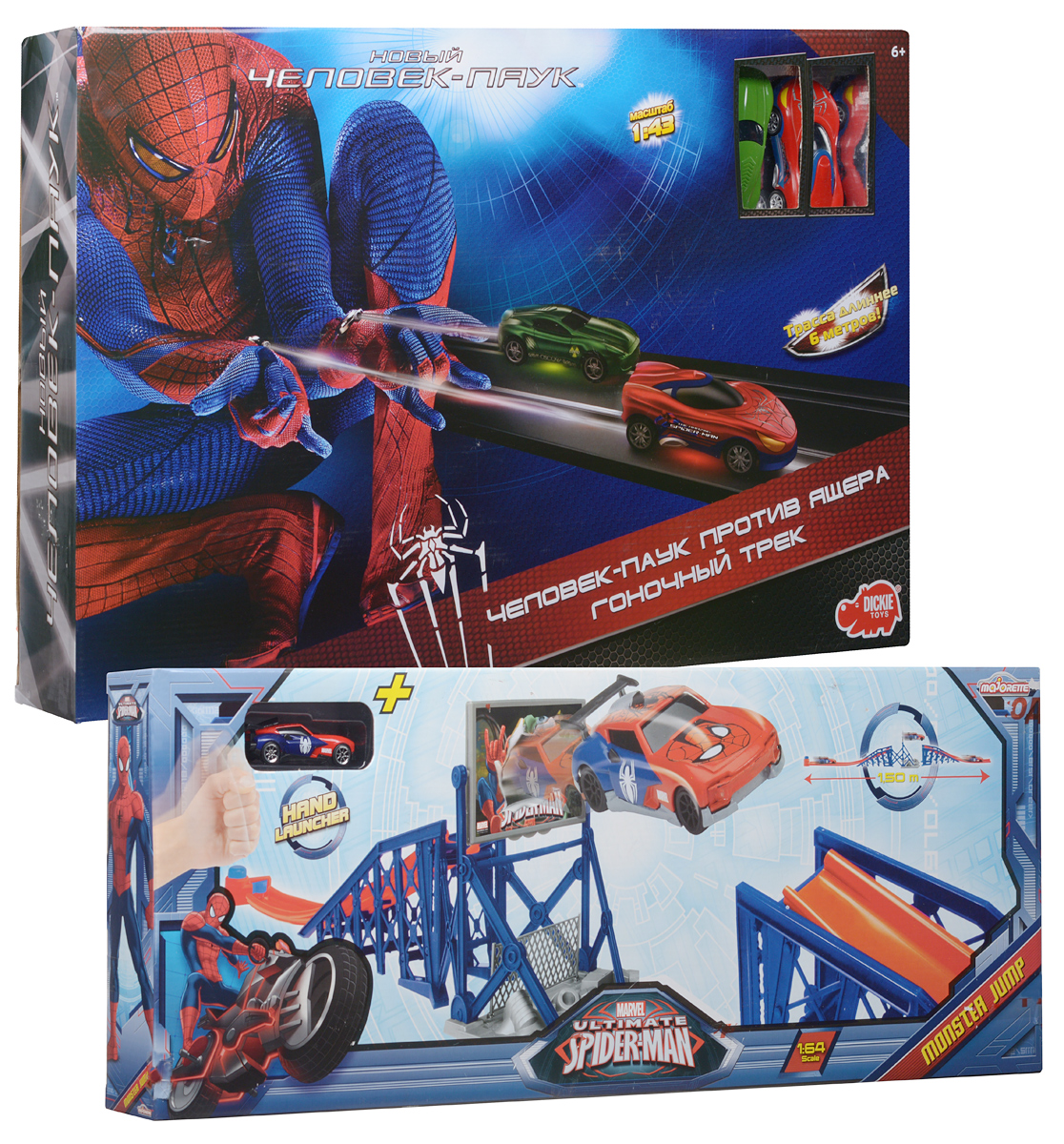 Dickie Toys Игрушечный трек Человек-Паук против Ящера + Подарок Трамплин Человек-Паук