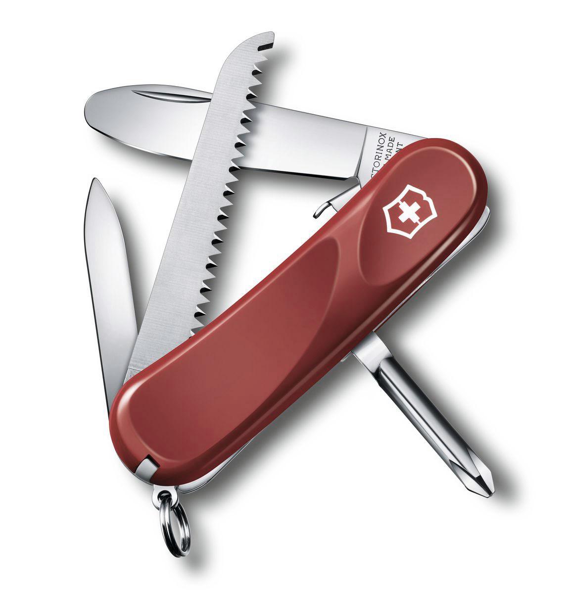 Нож перочинный Victorinox Junior, цвет: красный, 8 функций, 8,5 см2.4213.SKEЛезвие перочинного складного ножа Victorinox Sentinel One Hand изготовлено из высококачественной нержавеющей стали. Ручка, выполненная из прочного пластика, обеспечивает надежный и удобный хват.Хорошее качество, надежный долговечный материал и эргономичная рукоятка - что может быть удобнее на природе или на пикнике!Функции ножа:Фиксирующееся лезвие с закругленным кончиком.Пилка для ногтей с инструментом по уходу за ногтями.Пила по дереву.Крестовая отвертка.Кольцо для ключей.Пинцет.Зубочистка.Длина ножа в сложенном виде: 8,5 см.Длина ножа в разложенном виде: 14,5 см.