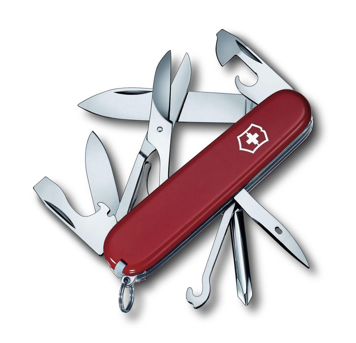 Нож перочинный Victorinox Super Tinker, цвет: красный, 14 функций, 9,1 см1.4703Лезвие перочинного складного ножа Victorinox Super Tinker изготовлено из высококачественной нержавеющей стали. Ручка, выполненная из прочного пластика, обеспечивает надежный и удобный хват.Хорошее качество, надежный долговечный материал и эргономичная рукоятка - что может быть удобнее на природе или на пикнике!Функции ножа:Большое лезвие.Малое лезвие.Крестовая отвертка.Консервный нож с малой отверткой.Открывалка для бутылок с отверткой.Инструмент для снятия изоляции.Шило, кернер.Кольцо для ключей.Пинцет.Зубочистка.Ножницы.Многофункциональный крючок.Длина ножа в сложенном виде: 9,1 см.Длина ножа в разложенном виде: 16 см.Длина большого лезвия: 7 см.Длина малого лезвия: 4,2 см.