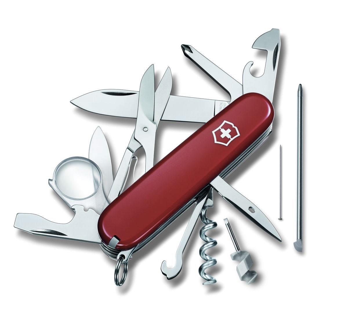 Нож перочинный Victorinox Explorer, цвет: красный, 19 функций, 9,1 см1.6705Лезвие перочинного складного ножа Victorinox Explorer изготовлено из высококачественной нержавеющей стали. Ручка, выполненная из прочного пластика, обеспечивает надежный и удобный хват.Хорошее качество, надежный долговечный материал и эргономичная рукоятка - что может быть удобнее на природе или на пикнике!Функции ножа:Большое лезвие.Малое лезвие.Штопор.Консервный нож с малой отверткой.Открывалка для бутылок с отверткой.Инструментом для снятия изоляции.Шило, кернер.Кольцо для ключей.Пинцет.Зубочистка.Ножницы.Многофункциональный крючок.Крестовая отвертка.Лупа.Шариковая ручка.Булавка из нержавеющей стали.Мини-отвертка.Длина ножа в сложенном виде: 9,1 см.Длина ножа в разложенном виде: 16 см.Длина большого лезвия: 6,8 см.Длина малого лезвия: 4 см.