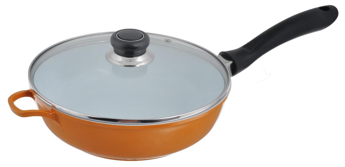Сковорода Bohmann с крышкой, с керамическим покрытием, цвет: оранжевый. Диаметр 24 см. 7524BHWCR54 009312Сковорода Bohmann изготовлена из алюминия с керамическим противопригарным покрытием покрытием. Покрытие изготавливают без использования ПТФЭ, оно абсолютно безопасно для здоровья. Покрытие имеет специальный слой, к которому не прилипает пища. При жарке требуется минимуму масла или жира. А меньше жира - меньше калорий, что благотворно влияет на ваше здоровье. Внешнее цветное декоративное покрытие выдерживает высокую температуру. Изделие оснащено крышкой из жаропрочного стекла. Бакелитовая ручка не нагревается в процессе приготовления пищи.Посуда Bohmann с износоустойчивым антипригарным покрытием позволяет готовить в энергосберегающем режиме, значительно сокращая время, проведенное у плиты. Покрытие устойчиво к механическим повреждениям. Сковорода пригодна для использования на всех типах плит. Можно мыть в посудомоечной машине. Диаметр сковороды: 24 см.Высота стенки сковороды: 7 см. Толщина стенки сковороды: 4 мм. Толщина дна сковороды: 4 мм. Длина ручки: 21 см.
