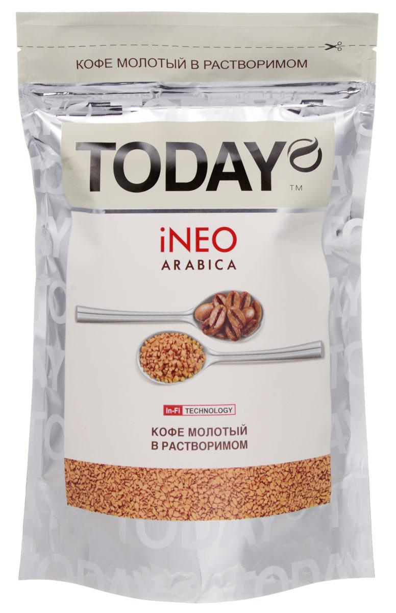 Today Ineo кофе растворимый, 150 г5060300570219Для создания кофе Today Ineo использовались лишь отборные зерна средней обжарки. Молотый кофе внутри растворимого дарит аромат и вкус свежесваренного кофе. Данный кофе приготовлен из отборных зерен колумбийской арабики по уникальной технологии In-Fi, защищающей молотый кофе от окисления и позволяющей получить чашку натурального молотого кофе за несколько секунд. После употребления оставляет кофейную гущу, свидетельствующую о содержании молотого кофе.