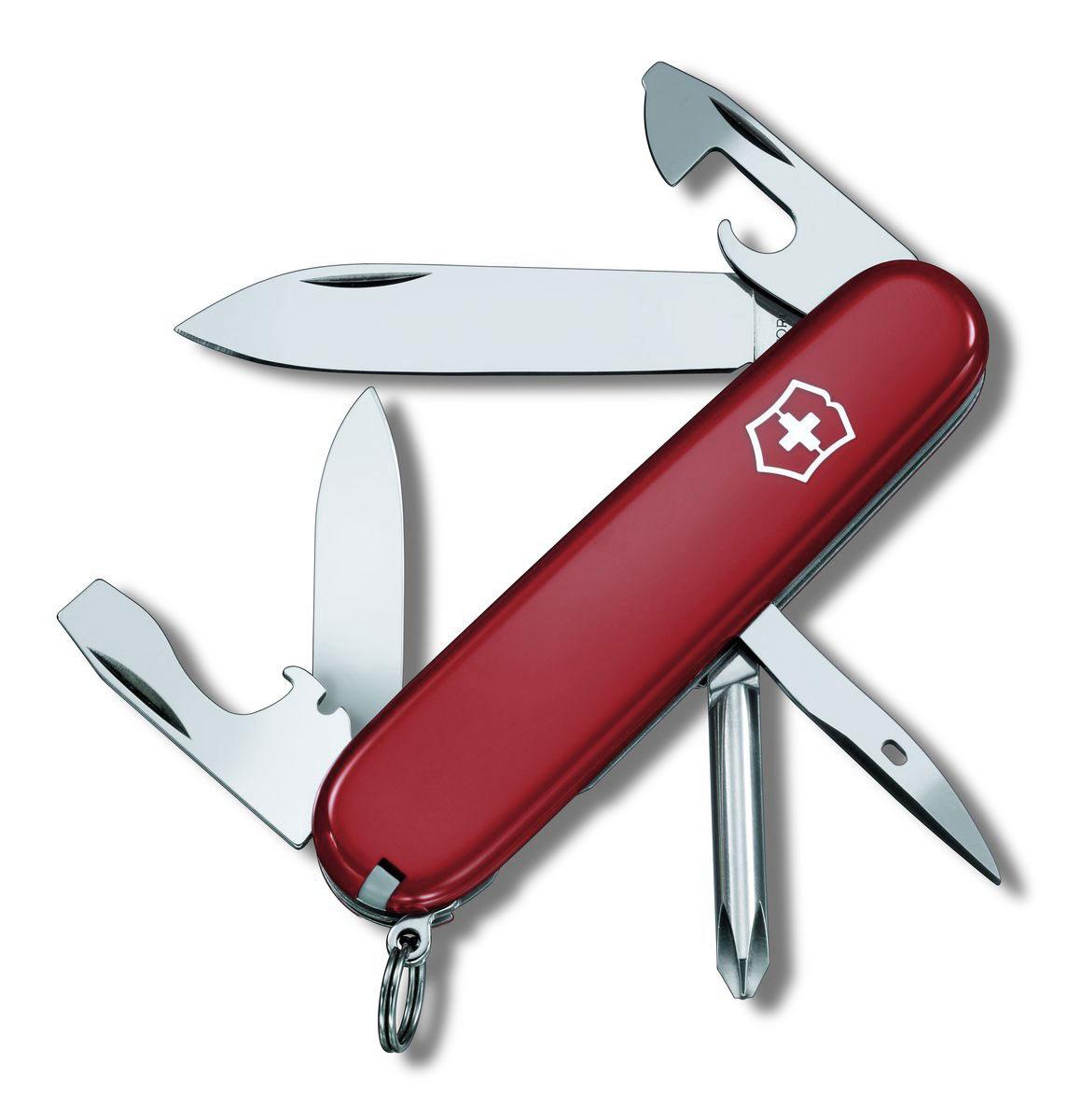 Нож перочинный Victorinox Tinker, цвет: красный, 12 функций, 9,1 см1.4603Лезвие перочинного складного ножа Victorinox Tinker изготовлено из высококачественной нержавеющей стали. Ручка, выполненная из прочного пластика, обеспечивает надежный и удобный хват.Хорошее качество, надежный долговечный материал и эргономичная рукоятка - что может быть удобнее на природе или на пикнике!Функции ножа:Большое лезвие.Малое лезвие.Крестовая отвертка.Консервный нож с малой отверткой.Открывалка для бутылок с отверткой.Инструментом для снятия изоляции.Шило, кернер.Кольцо для ключей.Пинцет.Зубочистка.Длина ножа в сложенном виде: 9,1 см.Длина ножа в разложенном виде: 16 см.Длина большого лезвия: 7 см.Длина малого лезвия: 4 см.
