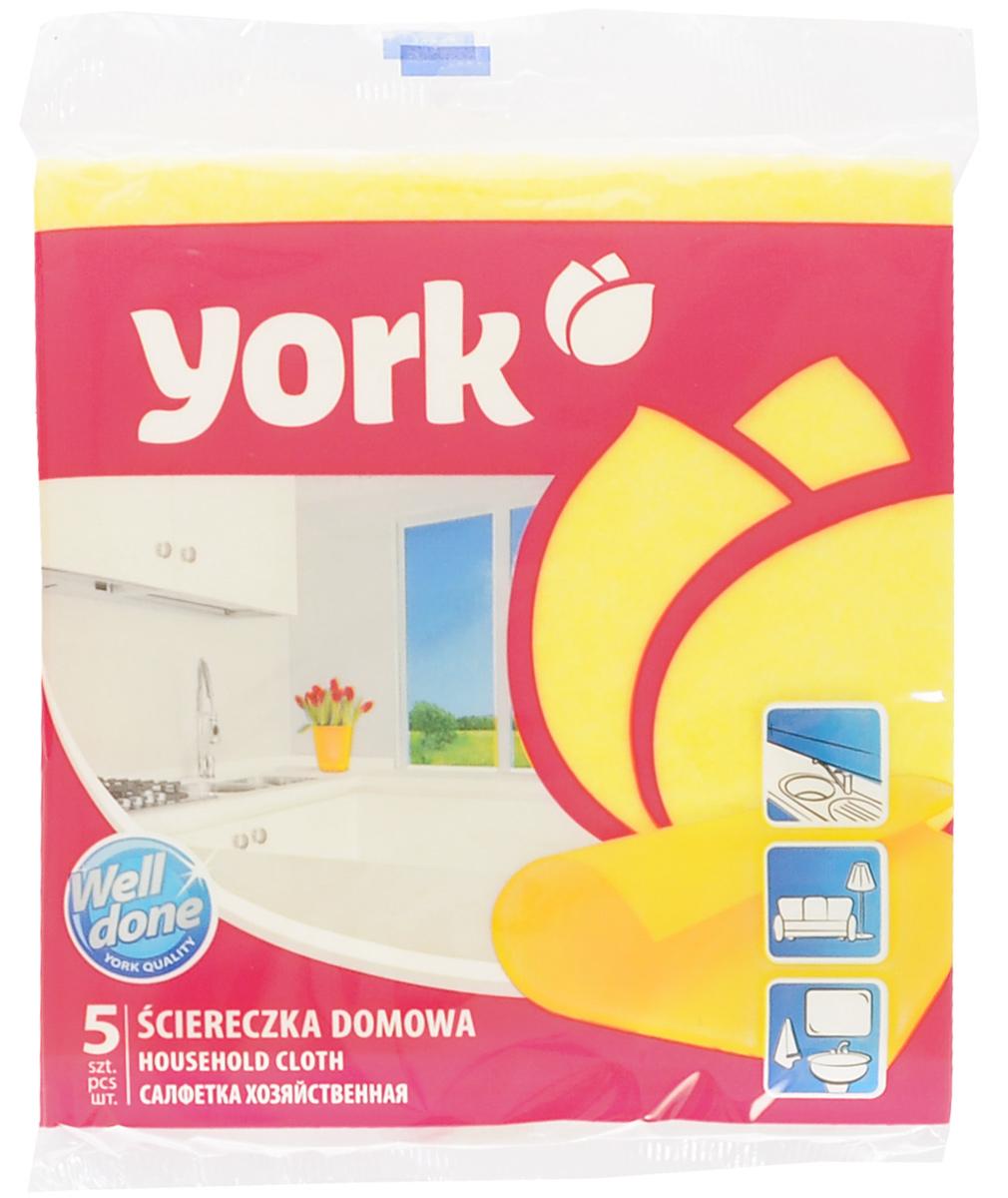 Салфетка хозяйственная York, цвет: желтый, 35 х 35 см, 5 шт531-105Универсальная салфетка York предназначена для мытья, протирания и полировки. Она выполнена из вискозы с добавлением полипропиленового волокна, отличается высокой прочностью. Хорошо поглощает влагу, эффективно очищает поверхности и не оставляет ворсинок. Идеальна для ухода за столешницами и раковиной на кухне, за стеклом и зеркалами, деревянной мебелью. Может использоваться в сухом и влажном виде.В комплект входят 5 салфеток.