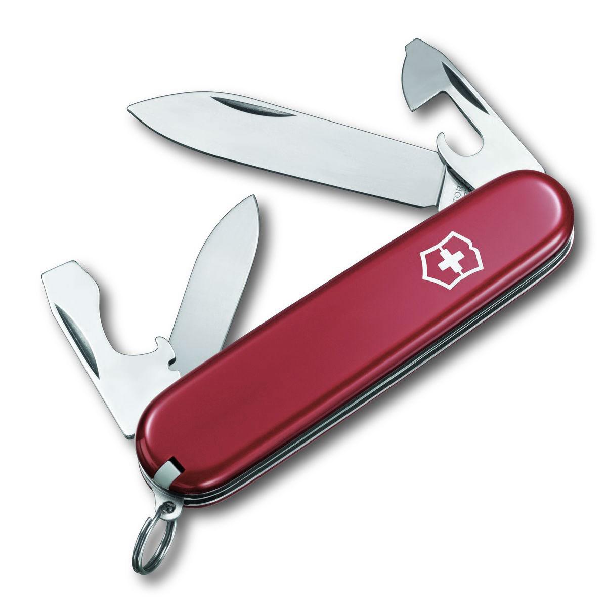 Нож перочинный Victorinox Recruit, цвет: красный, 10 функций, 8,4 см0.2503Лезвие перочинного складного ножа Victorinox Recruit изготовлено из высококачественной нержавеющей стали. Ручка, выполненная из прочного пластика, обеспечивает надежный и удобный хват.Хорошее качество, надежный долговечный материал и эргономичная рукоятка - что может быть удобнее на природе или на пикнике!Функции ножа:Большое лезвие.Малое лезвие.Консервный нож с малой отверткой.Открывалка для бутылок с отверткой.Инструмент для снятия изоляции.Кольцо для ключей.Пинцет.Зубочистка.Длина ножа в сложенном виде: 8,4 см.Длина ножа в разложенном виде: 14,5 см.Длина большого лезвия: 6,5 см.Длина малого лезвия: 4 см.