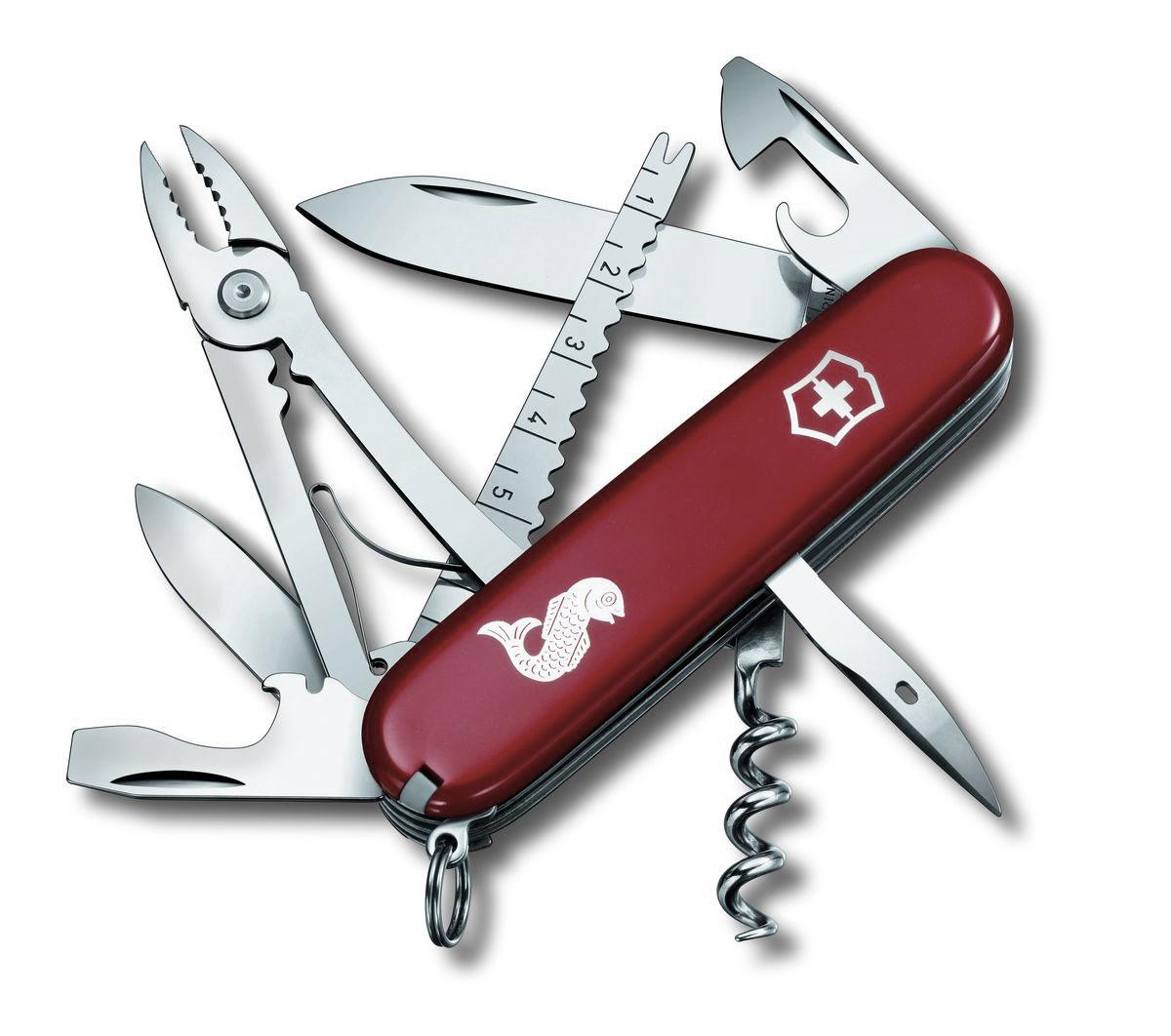 Нож перочинный Victorinox Angler, цвет: красный, 19 функций, 9,1 см1.3653.72Лезвие перочинного складного ножа Victorinox Angler изготовлено из высококачественной нержавеющей стали. Ручка, выполненная из прочного пластика, обеспечивает надежный и удобный хват.Хорошее качество, надежный долговечный материал и эргономичная рукоятка - что может быть удобнее на природе или на пикнике!Функции ножа:Большое лезвие.Малое лезвие.Штопор.Консервный нож с малой отверткой.Открывалка для бутылок с отверткой.Инструмент для снятия изоляции.Шило, кернер.Кольцо для ключей.Пинцет.Зубочистка.Инструмент для чистки рыбы с инструментом для извлечения рыболовного крючка.Линейка (сантиметры и дюймы).Плоскогубцы с кусачками для проводов и инструментом для обжима проводов.Длина ножа в сложенном виде: 9,1 см.Длина ножа в разложенном виде: 16 см.Длина большого лезвия: 7 см. Длина малого лезвия: 4 см.