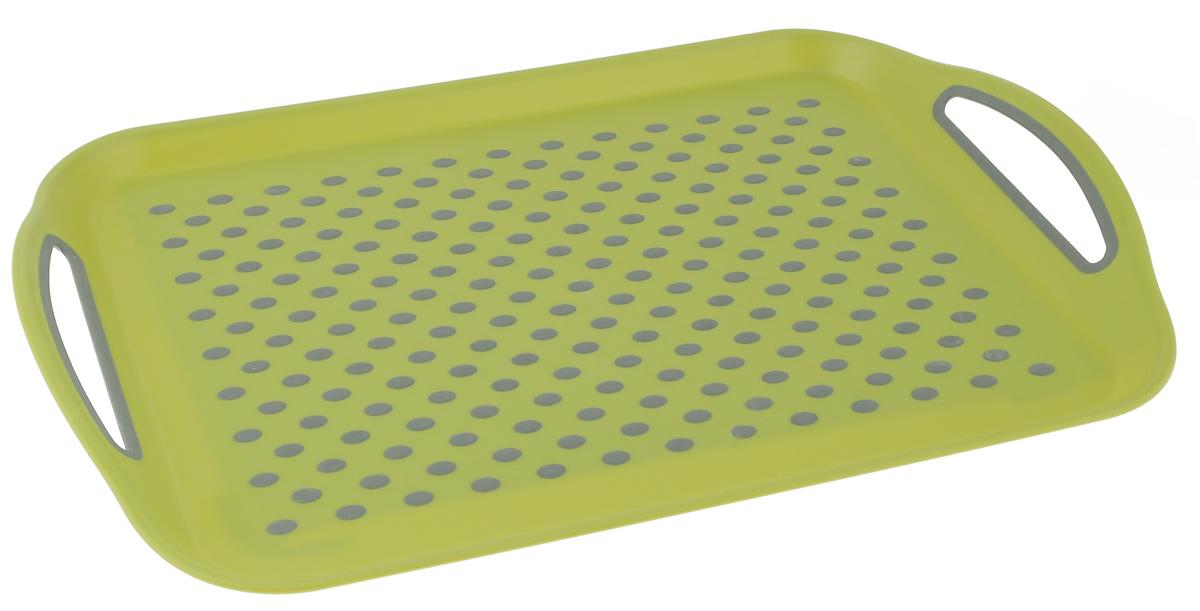 Поднос Bohmann, цвет: зеленый, серый, 45,5 см х 32 см115510Прямоугольный поднос Bohmann изготовлен из высококачественного пластика с нескользящими силиконовыми вставками. Благодаря таким вставкам, посуда не ездит по поверхности и останется на своем месте, даже если поднос наклонить. Поднос оснащен невысокими бортиками и ручками, благодаря которым его удобно переносить. Может использоваться как для сервировки, так и для декора кухни. Поднос прекрасно дополнит интерьер и добавит в обычную обстановку нотки романтики и изящества.