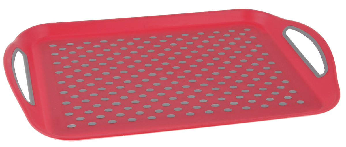 Поднос Bohmann, цвет: красный, серый, 45,5 х 32 см115510Прямоугольный поднос Bohmann изготовлен из высококачественного пластика с нескользящими силиконовыми вставками. Благодаря таким вставкам, посуда не ездит по поверхности и останется на своем месте, даже если поднос наклонить. Поднос оснащен невысокими бортиками и ручками, благодаря которым его удобно переносить. Может использоваться как для сервировки, так и для декора кухни. Поднос прекрасно дополнит интерьер и добавит в обычную обстановку нотки романтики и изящества.