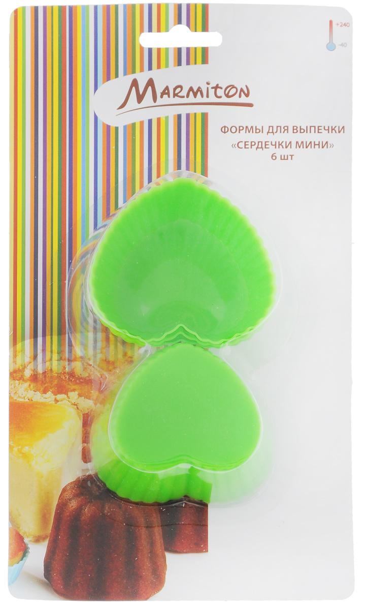 Набор форм для выпечки Marmiton Сердечки, цвет: салатовый, 6 шт. 11158630024Набор форм для выпечки Marmiton Сердечки, выполненный из силикона, включает шесть формочек в виде сердца с волнистыми краями. Благодаря тому, что форма изготовлена из силикона, готовый лед, выпечку или мармелад вынимать легко и просто.Материал устойчив к фруктовым кислотам, может быть использован в духовках, микроволновых печах и морозильных камерах.Можно мыть и сушить в посудомоечной машине.Размер формы: 6,5 см х 6 см х 3 см.
