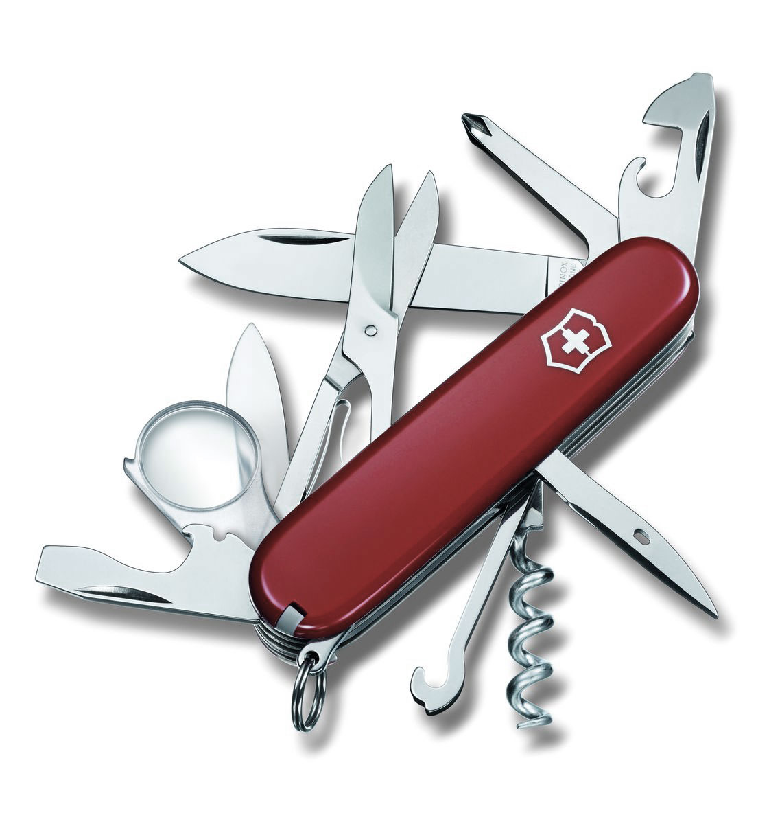 Нож перочинный Victorinox Explorer, цвет: красный, 16 функций, 9,1 см1.6703Лезвие перочинного складного ножа Victorinox Explorer изготовлено из высококачественной нержавеющей стали. Ручка, выполненная из прочного пластика, обеспечивает надежный и удобный хват.Хорошее качество, надежный долговечный материал и эргономичная рукоятка - что может быть удобнее на природе или на пикнике!Функции ножа:Большое лезвие.Малое лезвие.Штопор.Консервный нож с малой отверткой.Открывалка для бутылок с отверткой и инструментом для снятия изоляции.Шило, кернер.Кольцо для ключей.Пинцет.Зубочистка.Ножницы.Многофункциональный крючок.Крестовая отвертка.Лупа.Длина ножа в сложенном виде: 9,1 см.Длина ножа в разложенном виде: 16 см.Длина большого лезвия: 6,8 см.Длина малого лезвия: 4 см.