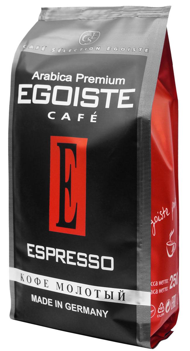 Egoiste Espresso кофе молотый, 250 г (п/у)0120710Венская обжарка придает кофе Egoiste Espresso глубокий, насыщенный вкус настоящего итальянского эспрессо. Кофе с самым богатым ароматом, рекомендующийся для приготовления в кофеварке или кофе-машине.