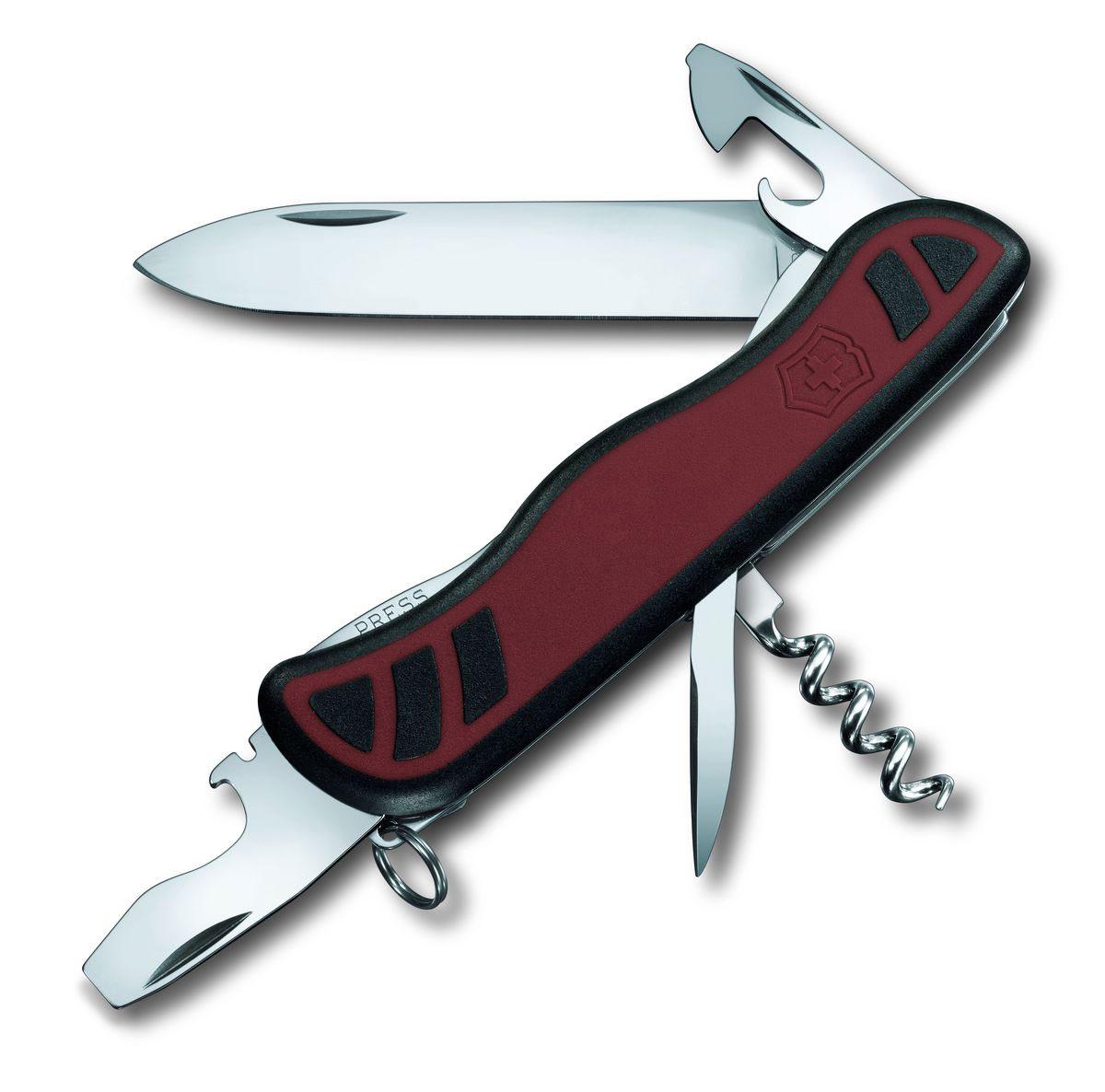 Нож перочинный Victorinox Nomad, цвет: красный, черный, 9 функций, 11,1 см0.8351.CЛезвие перочинного складного ножа Victorinox Nomad изготовлено из высококачественной нержавеющей стали. Ручка, выполненная из прочного пластика с резиновыми вставками, обеспечивает надежный и удобный хват.Хорошее качество, надежный долговечный материал и эргономичная рукоятка - что может быть удобнее на природе или на пикнике!Функции ножа:Фиксирующееся лезвие.Штопор.Консервный нож с малой отверткой.Фиксирующаяся открывалка для бутылок с отверткой и инструментом для снятия изоляции.Шило, кернер.Кольцо для ключей.Длина ножа в сложенном виде: 11,1 см.Длина ножа в разложенном виде: 19,5 см.