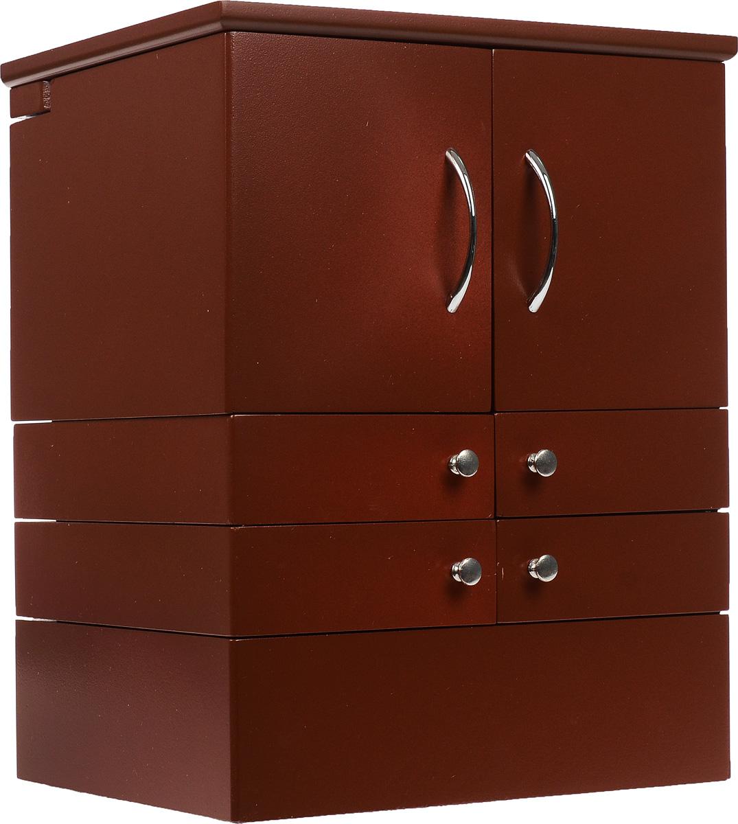 Шкатулка для косметики, настольная, цвет: коричневый.FS-91909Настольная раздвижная шкатулка для косметики поможет стильно, аккуратно и в одном месте хранить всю вашу косметику. Также может использоваться для хранения бижутерии и ювелирных украшений. Шкатулка выполнена из дерева, окрашенного краской белого цвета. Изделие имеет 4 яруса с раздвижными ящичками. Нижний ярус представляет собой ящик с двумя секциями, одна из которых имеет 7 продолговатых отделений для хранения тюбиков. Второй и третий ярус выполнены в виде ящичков с металлическими ручками, где удобно хранить различные мелкие баночки с косметикой. Верхний ярус также содержит два отделения, одно из них имеет 30 квадратных секций для хранения губных помад. Шкатулка дополнительно имеет 10 небольших отделений, куда очень удобно помещаются тени или румяна, а также два отдела для хранения аксессуаров, например, кистей. В шкатулке предусмотрено квадратное зеркальце, расположенное с внутренней стороны крышки. Дно ящиков отделано мягкой бархатистой тканью, что исключает повреждение предметов. Стильная настольная шкатулка придется по вкусу всем любительницам изысканных вещей, она прекрасно подойдет для туалетного столика и будет каждый день радовать свою обладательницу.Размер (в собранном виде): 21,5 см х 28,5 см х 35,5 см. Размер (в разобранном виде): 64 см х 24 см х 57 см. Размер ящика: 14 см х 18 см х 5 см. Размер зеркала: 15 см х 13,5 см.