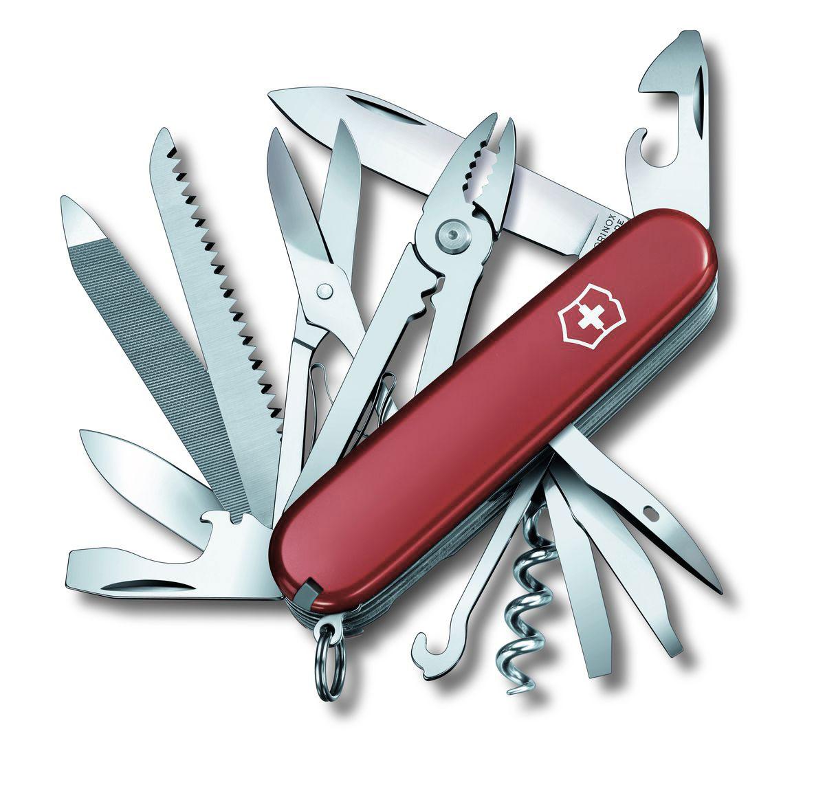 Нож перочинный Victorinox Handyman, цвет: красный, 24 функции, 9,1 см1.3773Лезвие перочинного складного ножа Victorinox Handyman изготовлено из высококачественной нержавеющей стали. Ручка, выполненная из прочного пластика, обеспечивает надежный и удобный хват.Хорошее качество, надежный долговечный материал и эргономичная рукоятка - что может быть удобнее на природе или на пикнике!Функции ножа:Большое лезвие.Малое лезвие.Штопор.Консервный нож с малой отверткой.Открывалка для бутылок с отверткой и инструментом для снятия изоляции.Шило, кернер.Кольцо для ключей.Пинцет.Зубочистка.Ножницы.Многофункциональный крючок.Пила по дереву.Стамеска.Пилка для ногтей с напильником по металлу, инструментом по уходу за ногтями и пилой по металлу.Тонка отвертка.Плоскогубцы с кусачками для проводов и инструментом для обжима проводов.Длина ножа в сложенном виде: 9,1 см.Длина ножа в разложенном виде: 15,8 см.Длина большого лезвия: 7 см.Длина малого лезвия: 4,3 см.