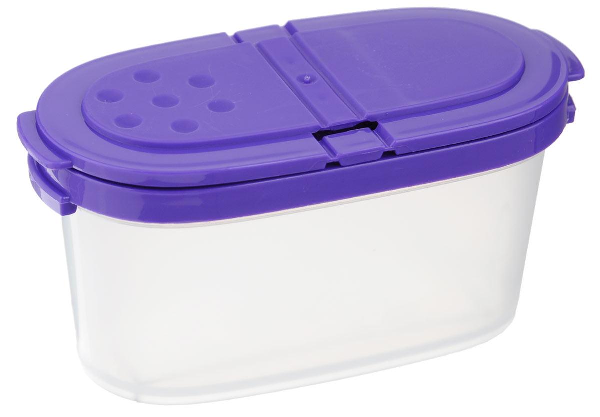 Контейнер для специй Idea, цвет: фиолетовый, прозрачный, 120 мл115510Контейнер Idea, изготовленный из высококачественного пластика, позволит вам хранить разнообразные специи. Изделие оснащено крышкой с 2 отделениями. Одно отделение имеет 1 большое отверстие, другое выполнено в виде сита с отверстиями диаметром 4 мм. Контейнер Idea для хранения специй станет незаменимым помощником на вашей кухне.