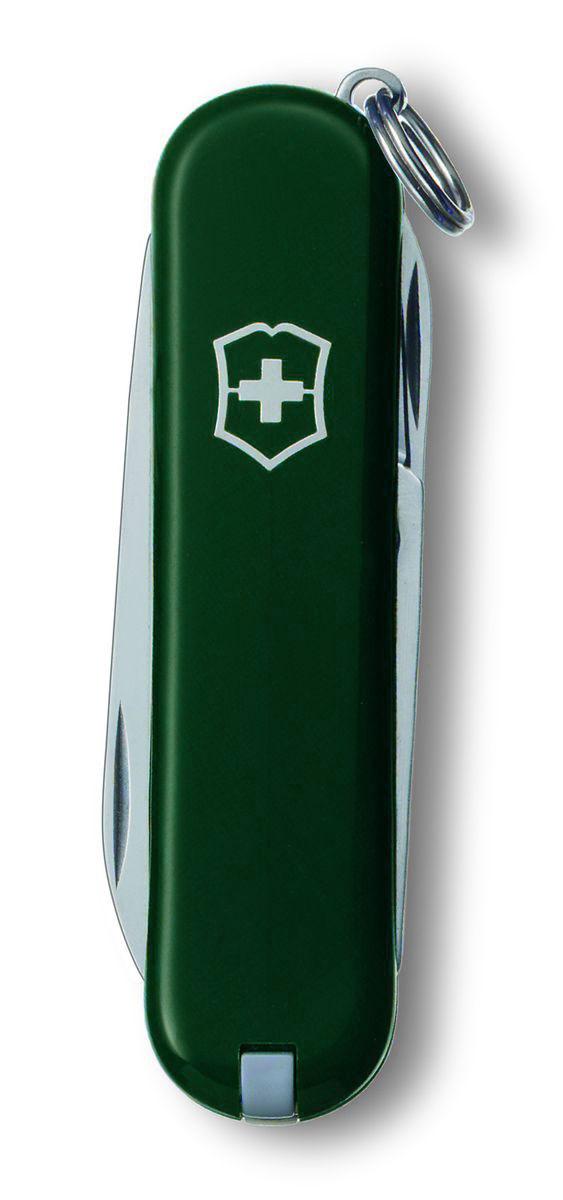 Нож-брелок Victorinox Classic SD, цвет: зеленый, 7 функций, 5,8 см0.6223.4Лезвие складного ножа-брелока Victorinox Classic SD изготовлено из высококачественной нержавеющей стали. Ручка, выполненная из прочного пластика, обеспечивает надежный и удобный хват. Нож имеет компактные размеры и не занимает много места.Хорошее качество, надежный долговечный материал и эргономичная рукоятка - что может быть удобнее на природе или на пикнике!В комплекте чехол, изготовленный из искусственной кожи.Функции ножа:Лезвие.Пилка для ногтей с отверткой.Ножницы.Кольцо для ключей.Пинцет.Зубочистка.Длина ножа в сложенном виде: 5,8 см.Длина ножа в разложенном виде: 9,8 см.