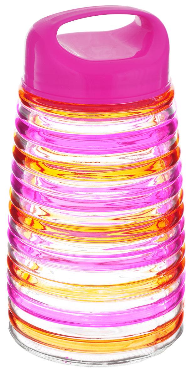 Банка для сыпучих продуктов Bohmann Кольца, цвет: розовый, оранжевый, 1,6 лVT-1520(SR)Банка для сыпучих продуктов Bohmann Кольца изготовлена из прочного прозрачного стекла. Емкость снабжена пластиковой крышкой, которая плотно и герметично закрывается, дольше сохраняя аромат и свежесть содержимого. Крышка оснащена удобной ручкой. Банка декорирована рельефным изображением цветных полосок. Изделие предназначено для хранения различных сыпучих продуктов: круп, чая, сахара, орехов и многого другого.Функциональная и вместительная, такая банка станет незаменимым аксессуаром на любой кухне. Диаметр (по верхнему краю): 9 см.Высота (без учета крышки): 20 см.
