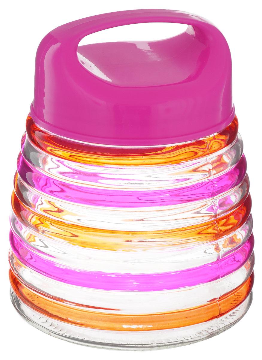 Банка для сыпучих продуктов Bohmann Кольца, цвет: розовый, оранжевый, 750 млVT-1520(SR)Банка для сыпучих продуктов Bohmann Кольца изготовлена из прочного прозрачного стекла. Емкость снабжена пластиковой крышкой, которая плотно и герметично закрывается, дольше сохраняя аромат и свежесть содержимого. Крышка оснащена удобной ручкой. Банка декорирована рельефным изображением цветных полосок. Изделие предназначено для хранения различных сыпучих продуктов: круп, чая, сахара, орехов и многого другого.Функциональная и вместительная, такая банка станет незаменимым аксессуаром на любой кухне. Диаметр (по верхнему краю): 9 см.Высота (без учета крышки): 12,5 см.