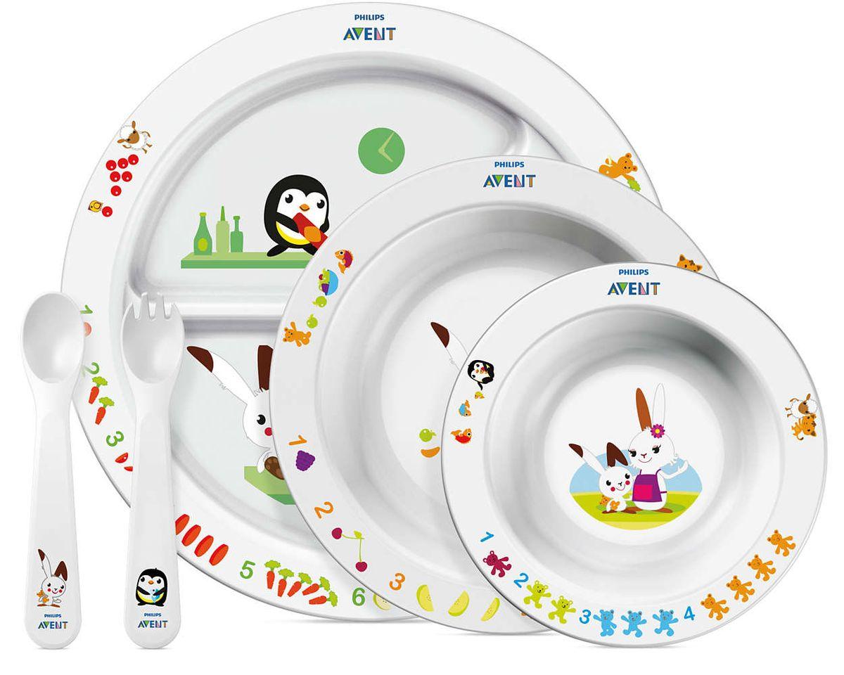 Набор детской посуды Philips Avent SCF716/00 — отличный помощник растущего малыша. Нескользящее основание предотвращает проливание Глубокая ложечка и вилка Удобная ручка идеальна для самостоятельного питания Удобно мыть и хранить Можно мыть в посудомоечной машине Без бисфенола-А (BPA 0%) Разработано при участии ведущего детского психолога Подходит для микроволновой печи (без столовых приборов)