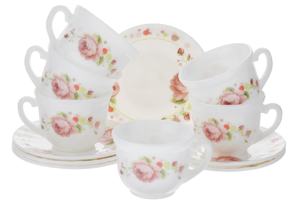 Набор чайный Miolla Глория, цвет: белый, розовый, 12 предметов115510Набор чайный Miolla Глория состоит из шести чашек и шести блюдец. Предметы набора изготовлены из высококачественной керамики. Блюдца круглой формы. Чайный набор яркого и в тоже время лаконичного дизайна украсит интерьер кухни и сделает ежедневное чаепитие настоящим праздником. Можно мыть в посудомоечной машине и использовать в микроволновой печи. Диаметр чашек (по верхнему краю): 8,5 см. Высота чашек: 6,5 см. Диаметр блюдец: 14 см. Объем чашек: 250 мл.