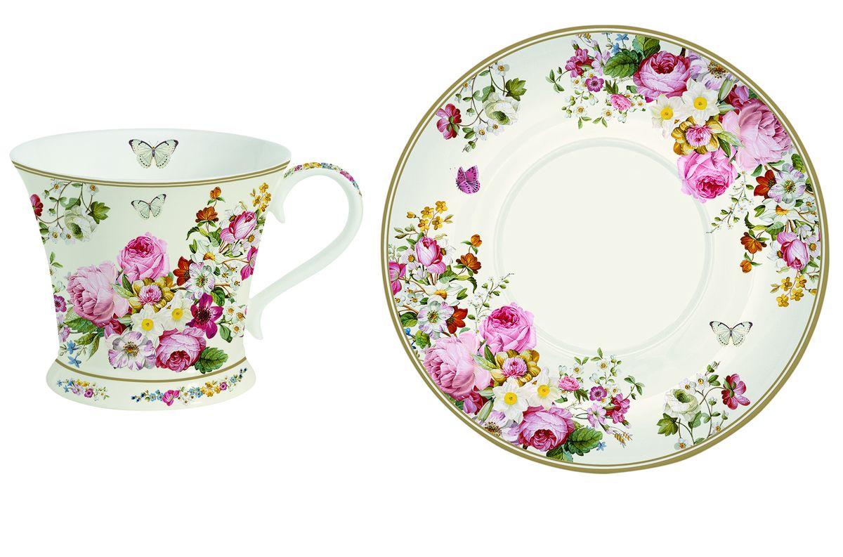 Чайная пара Nuova R2S Роскошные цветы, 2 предмета115510Чайная пара Nuova R2S Роскошные цветы состоит из чашки и блюдца, изготовленных из высококачественного костяного фарфора Bone China. Изделия оформлены оригинальным изображением цветов и бабочек.Такой набор прекрасно дополнит сервировку стола к чаепитию и подчеркнет ваш изысканный вкус. Прекрасный подарок к любому случаю. Можно мыть в посудомоечной машине и использовать в СВЧ-печи. Объем чашки: 180 мл. Диаметр чашки (по верхнему краю): 9 см. Высота чашки: 8 см. Диаметр блюдца: 15 см.