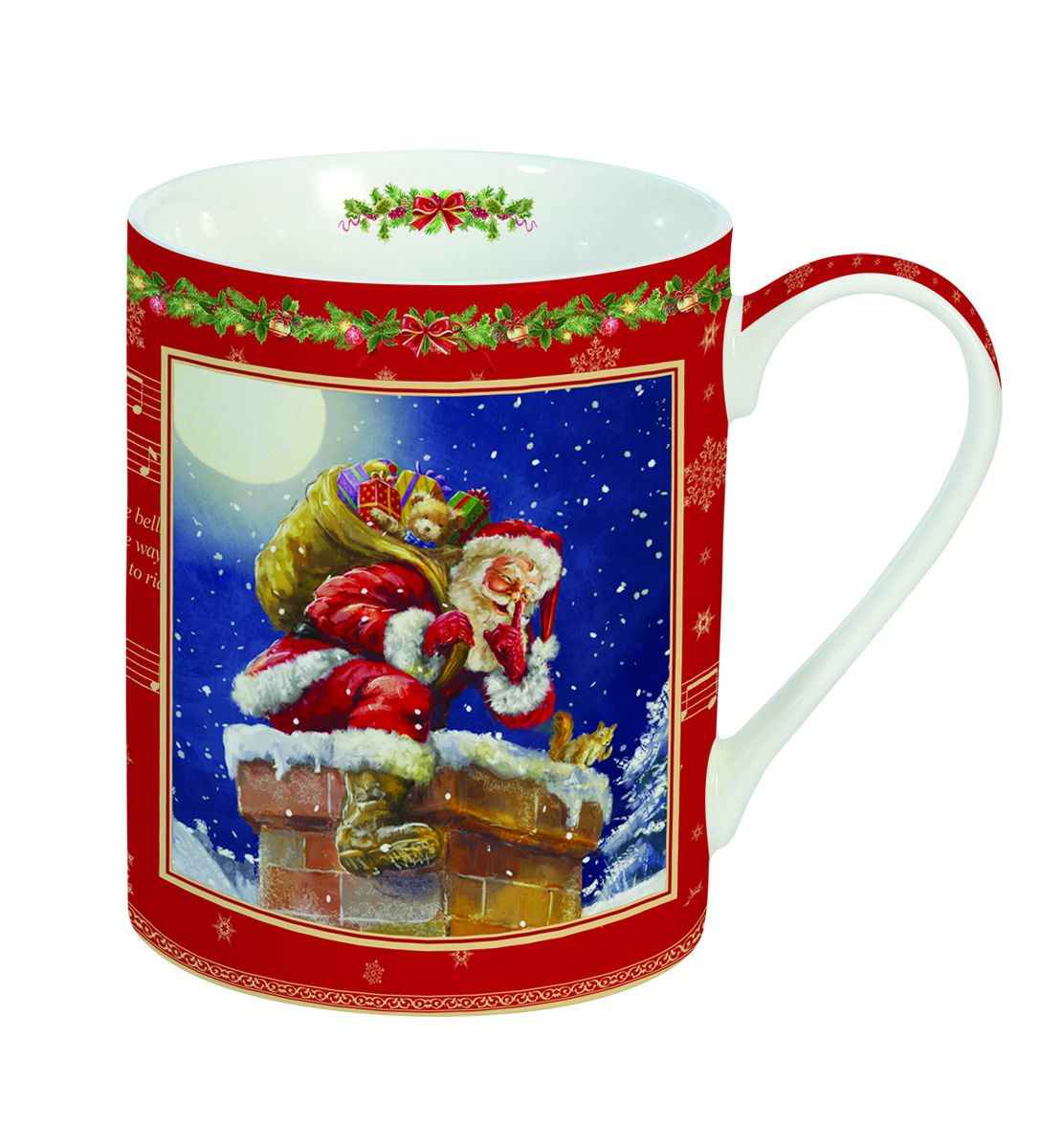 Кружка Nuova R2S Новогодние подарки, 300 мл420043Кружка Nuova R2S Новогодние подарки изготовлена из высококачественного фарфора. Изделие оформлено ярким изображением Деда Мороза, сидящем на трубе крыши. Такая кружка -отличный вариант новогоднего подарка для ваших близких и друзей. Можно использовать в СВЧ и мыть в посудомоечной машине. Диаметр (по верхнему краю): 7,5 см.
