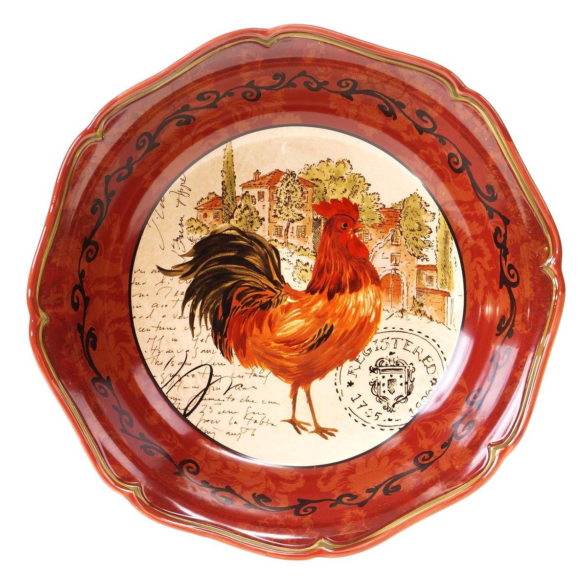 Блюдо Certified International Тосканский петух, диаметр 33 см тарелка обеденная certified international тосканский петух цвет золотистый красный черный 27 х 27 см