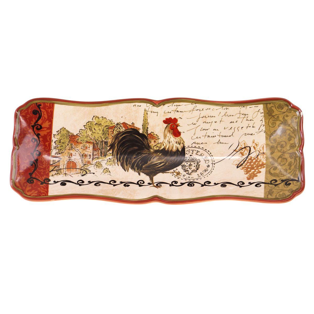 Поднос для хлеба Certified International Тосканский петух, 37 х 13 см22722Изысканный поднос Certified International Тосканский петух выполнен из высококачественной глазурованной керамики. Изделие украшено оригинальным рисунком петуха. Такой поднос идеально подойдет для сервировки хлеба на праздничном столе. Он придется по вкусу и ценителям классики, и тем, кто предпочитает утонченность и изысканность. Размер подноса: 37 х 13 см.