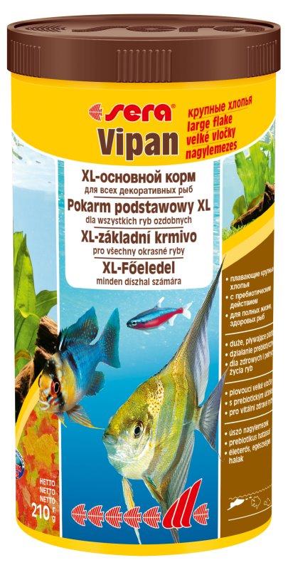 Sera Vipan Корм для декоративных рыб, крупные хлопья 1000мл0120710Классика - хлопьевидный корм для декоративных рыб в аквариумах со смешанным сообществом.sera випан - идеальный основной корм для рыб в аквариумах со смешанным сообществом. Сбалансированный состав удовлетворяет потребности множества видов. Бережная обработка гарантирует сохранение ценных ингредиентов (например, жирных кислот Омега, витаминов и минералов). Метод его приготовления, применяемый фирмой sera, позволяет хлопьям сохранять свою форму в течение длительного времени, не загрязняя воду. Благодаря уникальной очень высокой степени измельчения, хлопья в тоже время очень нежны и поэтому охотно поедаются рыбой. Доступен в обычной форме и в форме крупных хлопьев.