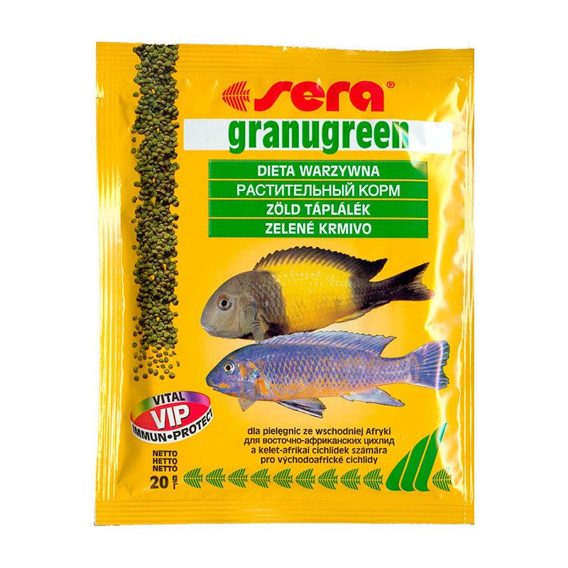 Sera Granugreen Корм для растительноядных цихлид, гранулы 20г0120710Гранулированный корм для цихлид, усиливающий интенсивность окраса.Этот гранулированный корм имеет высокое процентное содержание высококачественных белков из водных организмов и поэтому предназначен для преимущественно хищных цихлид. При комбинировании с кормом sera гранугрин, грануред является интересным разнообразием также и для всеядных видов рыб. Вновь посаженные рыбы переходят на этот корм без проблем. Корм сохраняет свою форму и таким образом остается привлекательным для рыб и после погружения.