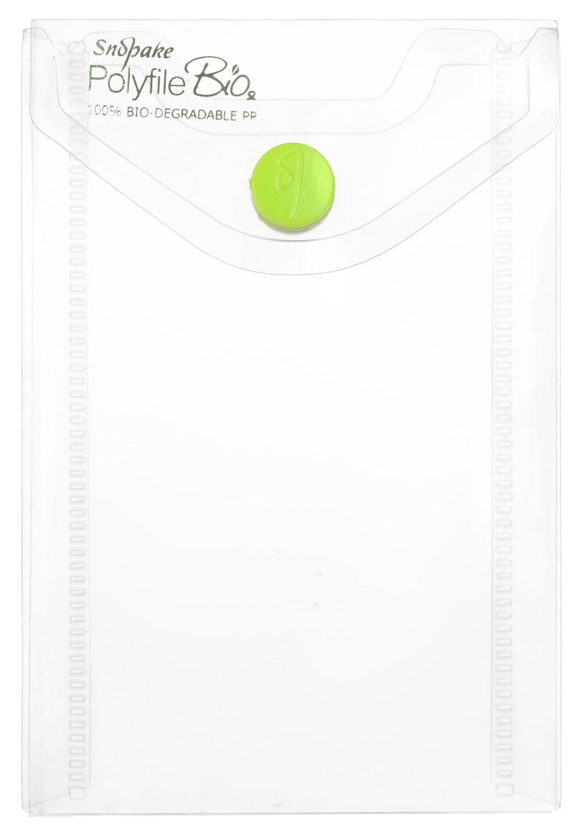 Папка-конверт на кнопке Snopake, вертикальная, цвет: прозрачный. Формат А7K15552