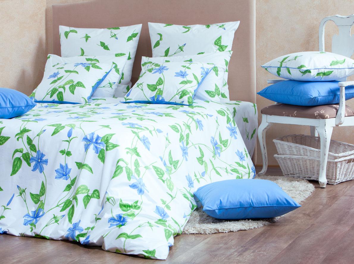 Комплект белья Mirarossi Veronica, 2-спальный, наволочки 50х70, цвет: белый, голубой, зеленый77698Роскошный комплект постельного белья Mirarossi Veronica выполнен из ткани перкаль, натурального 100% хлопка. Ткань приятная на ощупь, при этом она прочная, хорошо сохраняет форму и не образует катышков на поверхности. Инновационная технология обработки ткани Easy Care позволяет белью дольше оставаться свежим. Органические активные вещества Easy Care на основе натуральных компонентов, эффективно препятствуют сминаемости и деформации ткани, что позволяет вам практически не тратить время на глажку постельного белья. Комплект состоит из пододеяльника, простыни и двух наволочек. Изделия оформлены цветочным принтом. Благодаря такому комплекту постельного белья вы создадите неповторимую атмосферу в вашей спальне. Плотность ткани: 135 гр/м2.